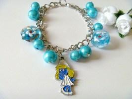 Handcrafted Smurfette Charm Bracelet - $9.99