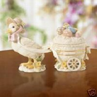 Lenox Easter Blossoms Duck Cart 3 Pc NIB COA
