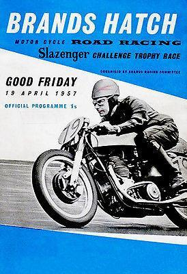 Primary image for 1957 Slazenger Challenge Trophy Motorcycle Race Brands Hatch Promotional Poster