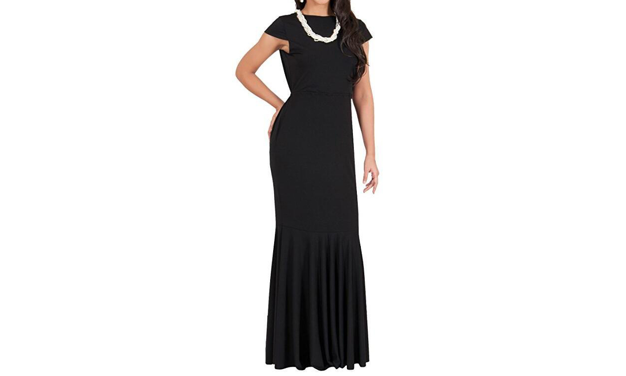 Women's Long Short Sleeve Cocktail Party Evening Gown Maxi Dress