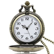 DAD Brown Big Face Dial Pocket Watch Long Chain Watch - $15.50
