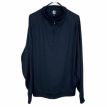FootJoy 1/4 Quarter Zip Pullover Golf Windbreaker Jacket Large Black Stretch - $29.60