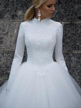 Designer High Neck Long Sleeve Winter Ball Gown Lace Tulle A-Line Princess Brida image 5