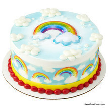 RAINBOW and CLOUDS Cake Decoration Party Supplies TOPPER KIT Plac Birthd... - $9.85