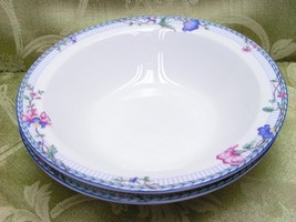 Blue Lattice Oneida China Lot 2 Rimmed Cereal Bowls - $35.99