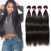 Aphro Hair Virgin Brazilian Straight Human Hair Extensions 4 Bundles Unp... - $163.49