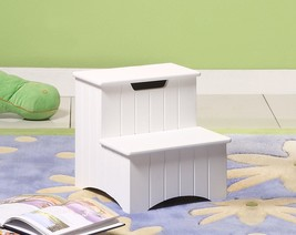 Wood Helper Step Stool With Storage Organizer Country Style Bedroom White - £54.47 GBP