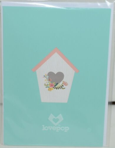 Lovepop LP2028 Birdhouse Pop Up Card  White Envelope Cellophane Wrapped