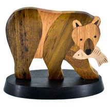 Northwoods Handmade Wooden Parquetry Bear with Fish Sculpture Figurine image 3