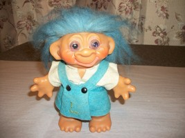 Vintage DAM Troll Doll Coin Bank Girl Blue Felt Dress - $20.00