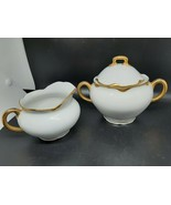Carlsbad Austrian Creamer and Sugar White with heavy gold very good vint... - $30.00