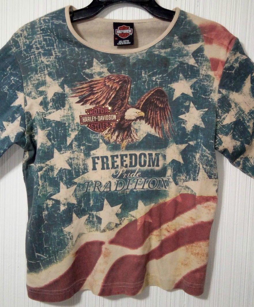 Harley Davidson Of Rehoboth Beach Delaware XL US Flag Womens embellished Blouse  image 2