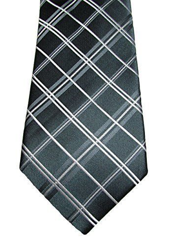 Primary image for Alfani Men's Narrow Neck Tie with Clip, Stripe/Grid Pack, Charcoal  MSRP $49.50