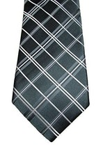 Alfani Men's Narrow Neck Tie with Clip, Stripe/Grid Pack, Charcoal  MSRP... - $12.86