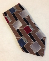 Zylos George Machado Brown Red Blue Grey Neck Tie 100% Italian Silk Colo... - $25.00