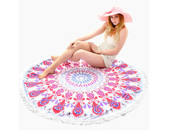 Red Multi-Color Printed Round Beach Throw with ... - $29.00