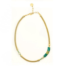 MILENA Necklace Green and Gold Murano Glass - $74.00