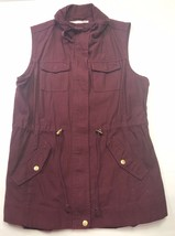 American Rag Maroon Jean Vest Jacket Women's Size L Button & Zipper 100% Cotton - $28.95