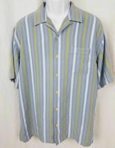 Tommy Bahama Large L 100% Silk Light Blue Striped Camp Shirt - $23.75