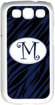 One Initial Curlz Monogram Blue and Black Zebra Design on Samsung Galaxy S3 Case - $15.95