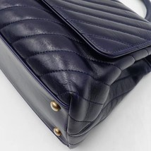 100% AUTH CHANEL CHEVRON QUILTED CALFSKIN ROYAL BLUE MEDIUM COCO HANDLE BAG GHW image 6
