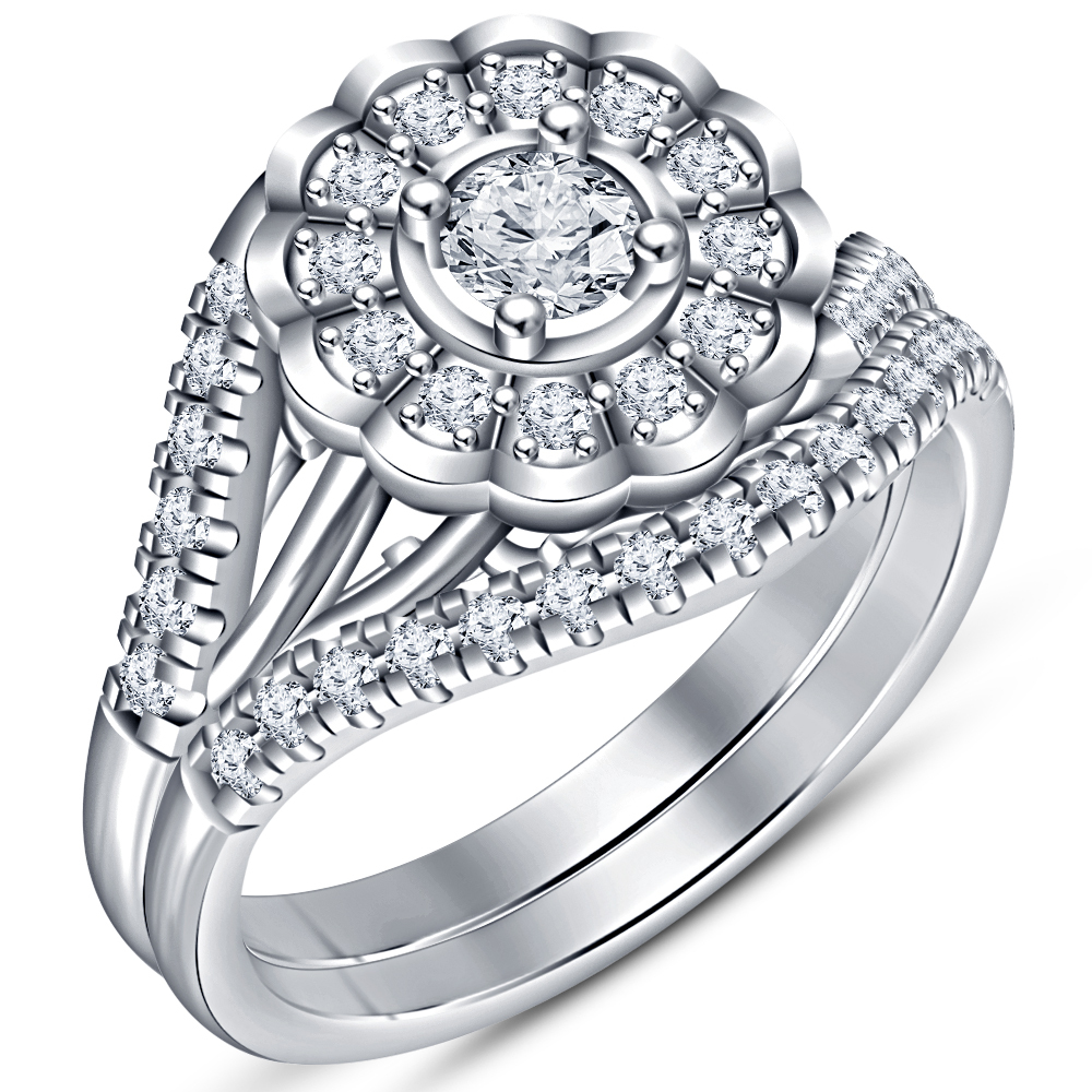 Beautiful Bridal Wedding Ring Set 14k White Gold Plated 925 Silver Round Cut CZ