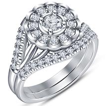 Beautiful Bridal Wedding Ring Set 14k White Gold Plated 925 Silver Round Cut CZ - $94.25