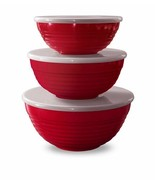 Red Lidded Mixing or Serve 3 Bowl Set by TarHong - $57.37