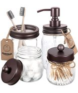Mason Jar Bathroom Accessories Set 4 Pcs- Rustic Farmhouse Decor - $75.00