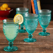 Set of 4 12-Ounce Footed Glass Goblets The Pioneer Woman Adeline Embossed - $29.66