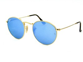 Ray Ban RB 3447-N Round Metal Sunglasses, 001-9O Blue Flash / Gold 50mm #11G - $98.95
