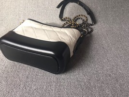 AUTHENTIC Chanel 2018 BLACK White Quilted Leather Small Gabrielle Hobo Bag GHW image 5