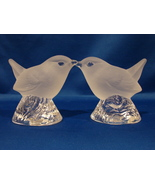 Matching Pair: Nybro Sweden,Crystal Frosted Glass Birds  - $40.00
