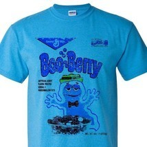 Boo-Berry box T-shirt Heather Blue Monster Cereal Frankenberry Chocula 50/50 tee image 1