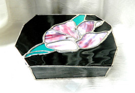 Vintage Trinket Box Stained and Black Glass Free Form Artist Made - Copp... - $24.99