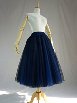 Women's Tea Length Tulle Skirt Navy Tulle Skirts Navy Blue Polka dot Puffy Tutu image 6