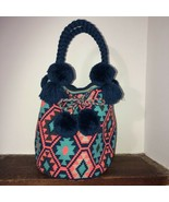 Authentic 100% Wayuu Mochila Colombian Bag Large Size Bright Blue Short ... - $99.00