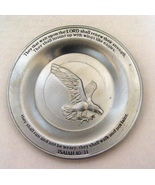 Pewter Soaring Eagle Plate w Stand for Shelf Display - $6.99