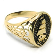 18K YELLOW GOLD BAND MAN RING, SAILING CLIPPER SHIP, FINELY WORKED, BLACK ENAMEL image 2
