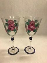 Hand painted pair wine glasses BIA 00 8 inch flowers rose pedestal water - $44.54