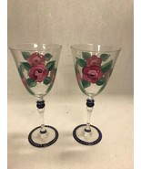 Hand painted pair wine glasses BIA 00 8 inch flowers rose pedestal water - $44.54