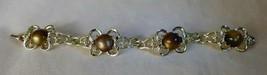 "Beautiful c1960s CORO 7"" Goldtone Bracelet Faux Tiger's Eye Stones Rarely Worn - $28.00"