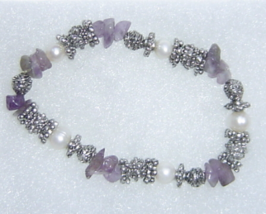 Handcrafted Amethyst Silver and Simulated Pearl Stretch Bracelet - ₨775.88 INR