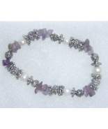 Handcrafted Amethyst Silver and Simulated Pearl Stretch Bracelet - £9.44 GBP