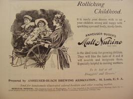 ORIGINAL 1895 ANHEUSER BUSCH MALT NUTRINE FOR STRONG HAPPY CHILDREN PRIN... - $9.99
