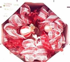 "Beautiful Holiday Time 18"" Mesh Ribbon Wreath - $14.80"