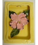 Sweet!   Vintage Pottery ORCHID Flower Wall Plaque - $12.99