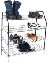 Black Shoe Storage Rack 4 Tier Metal Closet Organizer Save Space Standin... - $39.50