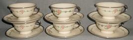 Set (6) Ransgil China JUNE ROSE PATTERN Cups/Saucers PLATINUM TRIM - $69.29
