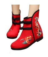 Vintage Beijing Cloth Shoes Embroidered Boots 12-01   red with cotton  35 - $38.99